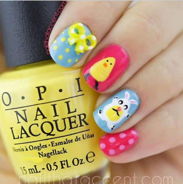cute colorful easter nails bmodish