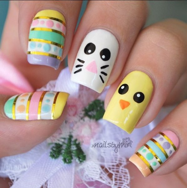 cute easter mani 2015 bmodish - Ready For Easter : 38 Super Cute Easter Nail Art Designs - Be Modish