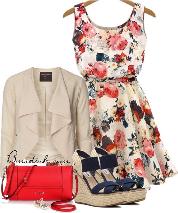 cute floral short dress outfit bmodish