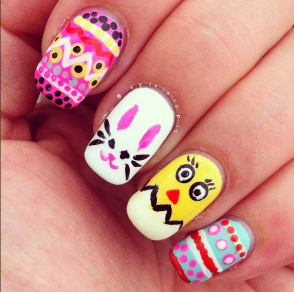 cute multicolor easter nails bmodish