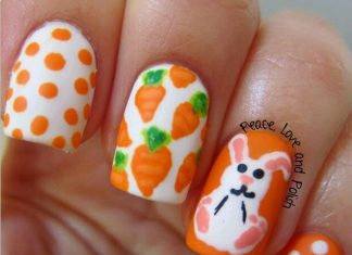 cute bunny and carrots easter nail art