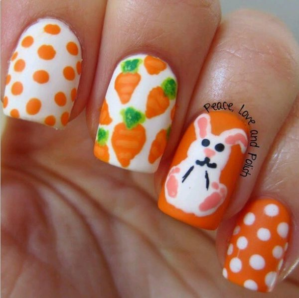 cute bunny and carrots easter nail art - Ready For Easter : 38 Super Cute Easter Nail Art Designs - Be Modish