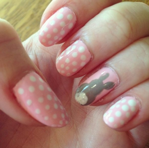 cute pink and grey easter nails bmodish