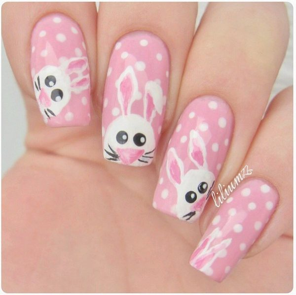 cute pink bunnies nails for easter bmodish
