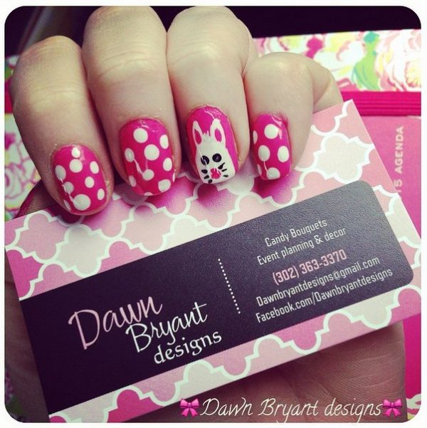 cute pink magenta easter bunny nails bmodish