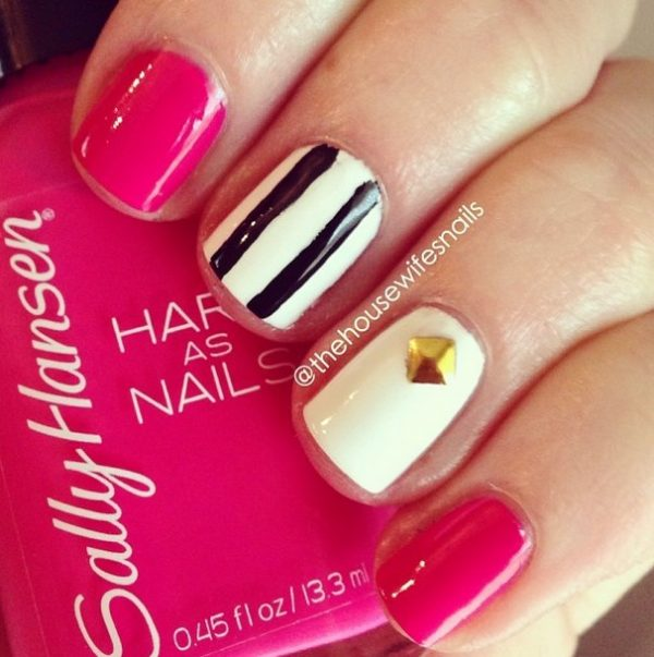 cute pink with stripes easy nails bmodish