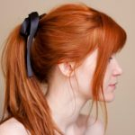 cute ponytail with ribbon hairstyle