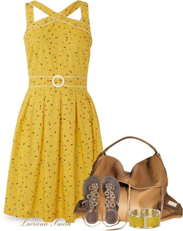 cute vintage sundress with flat sandals spring summer outfit bmodish