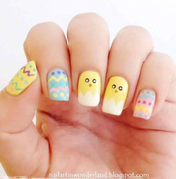cute yellow easter nail arts bmodish