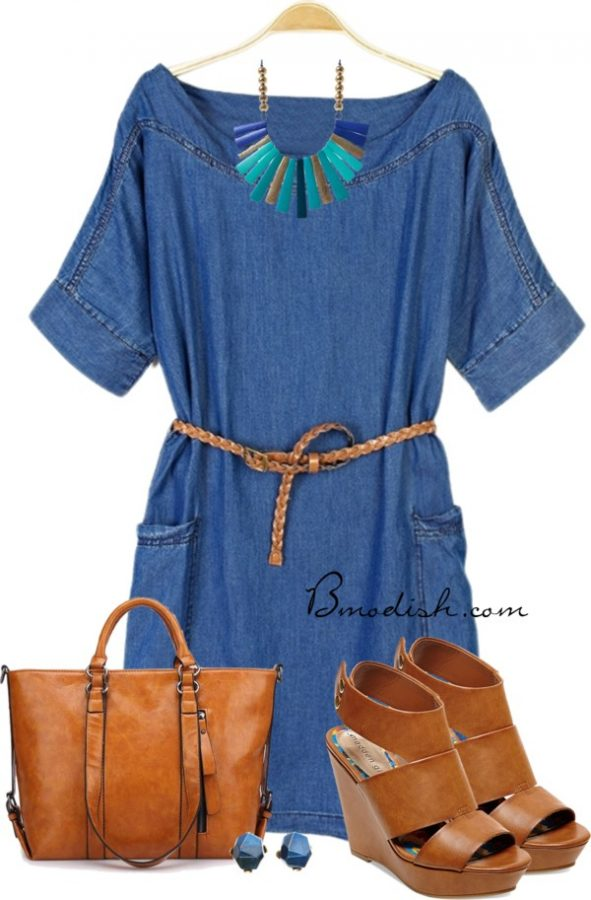 denim dress casual outfit polyvore bmodish