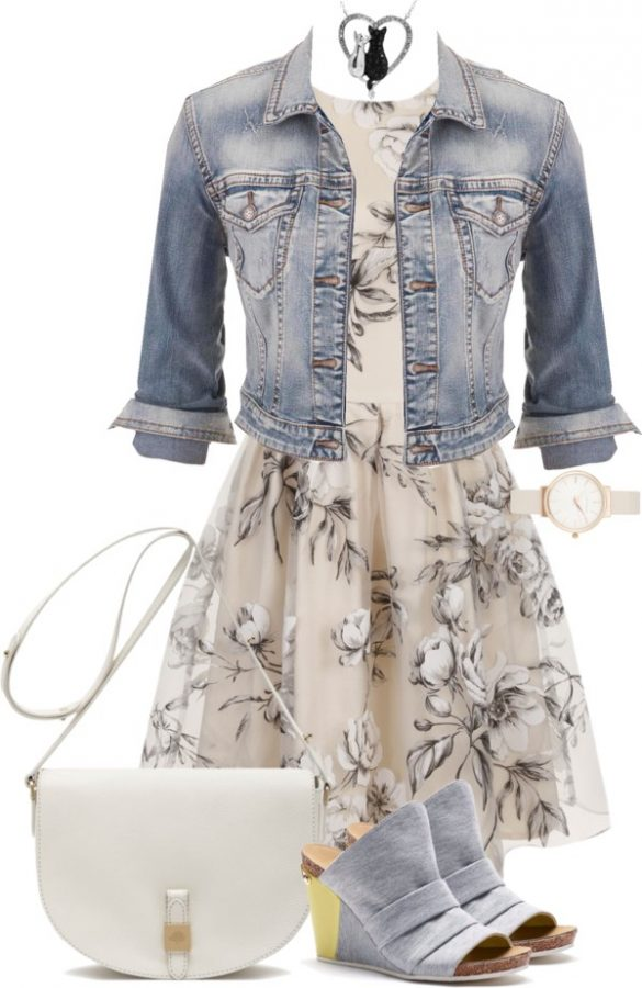 denim jacket with floral sundress outfit bmodish