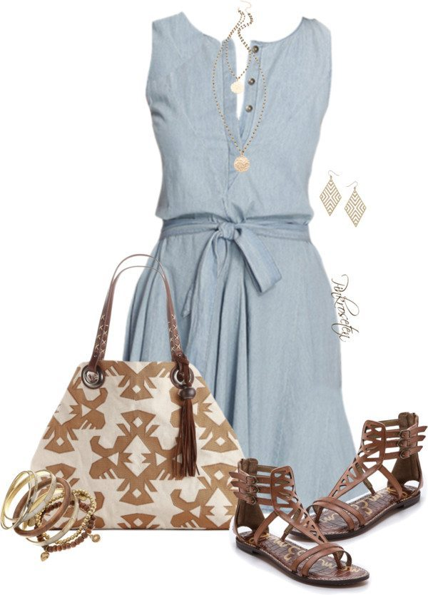 denim sundress with flat sandals polyvore outfit bmodish