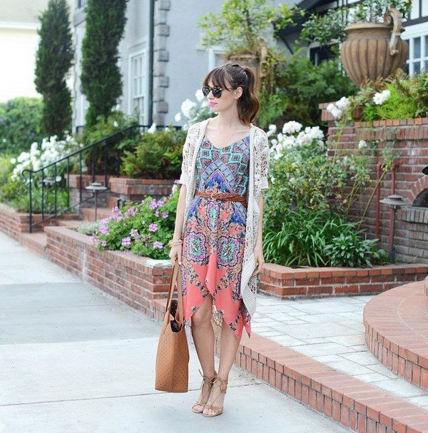 design lab printed dress with crochet cardi bmodish