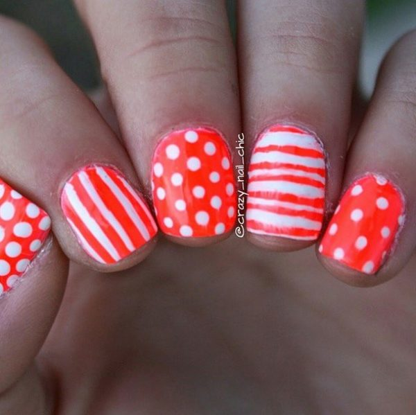 dots and stripes nail art bmodish