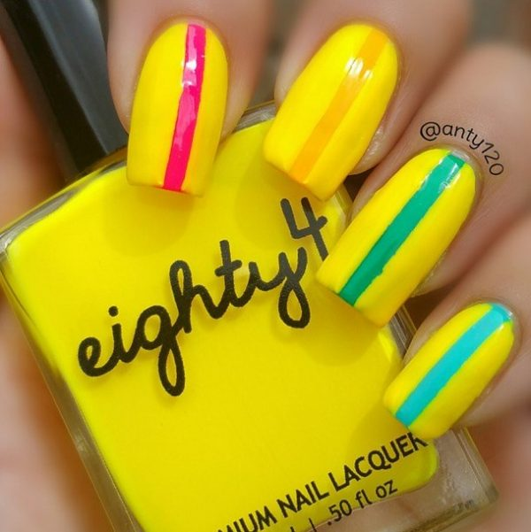 easy neon spring summer nails bmodish