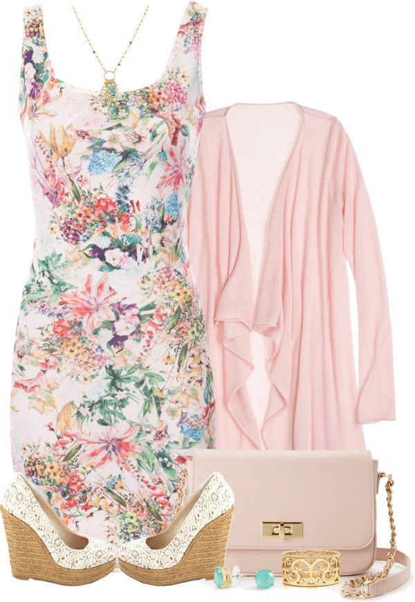 floral bodycon dress with cardigan outfit bmodish