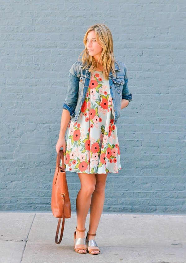 floral dress with denim jacket bmodish