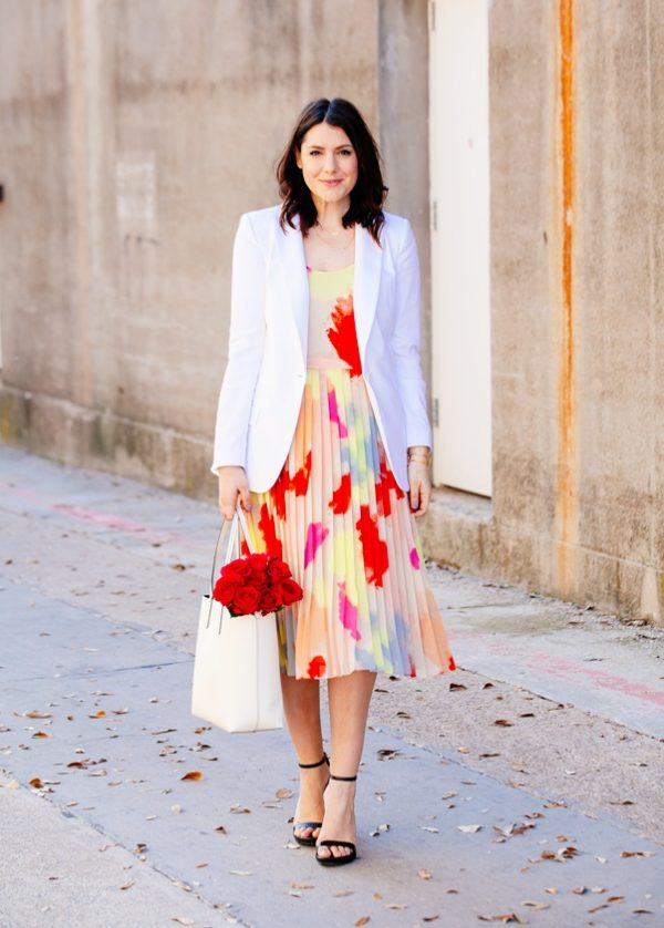 floral dress with white blazer bmodish