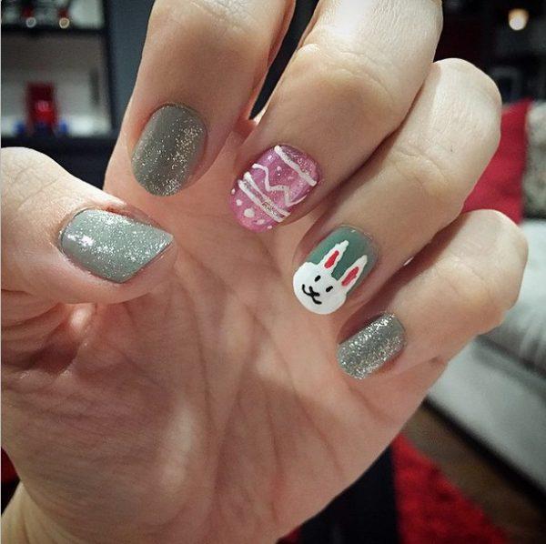 glitter easter nail design bmodish