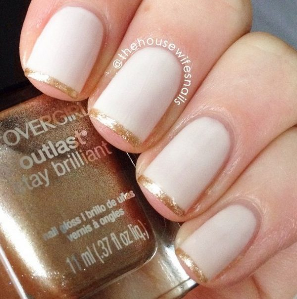 gold french nails bmodish