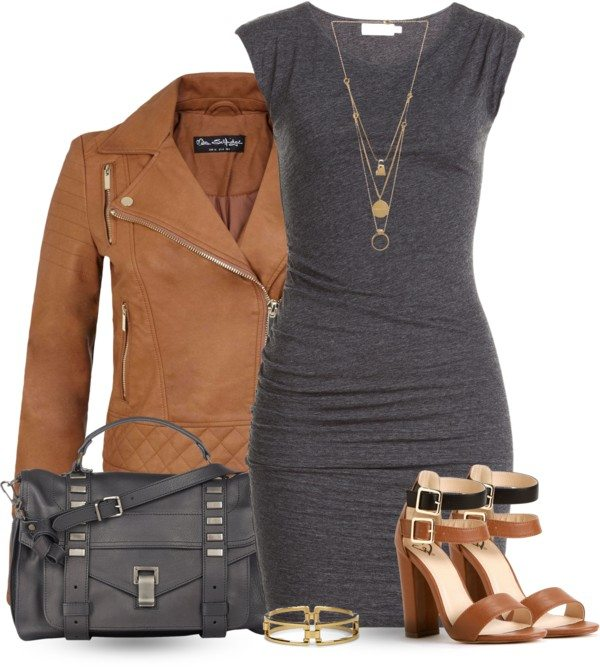 grey bodycon dress with leather jacket bmodish