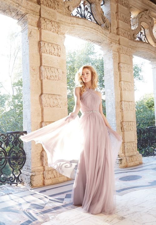 jim hjelm occasions bridesmaid english net a line gown sheer crisscross front straps draping waist 2 bmodish