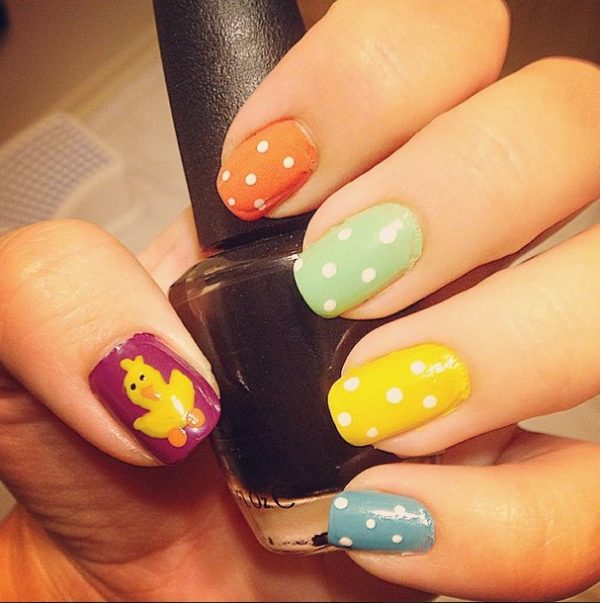 multicolor easter nails bmodish