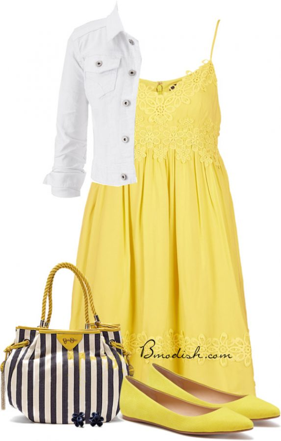navy and yellow sundress outfit bmodish