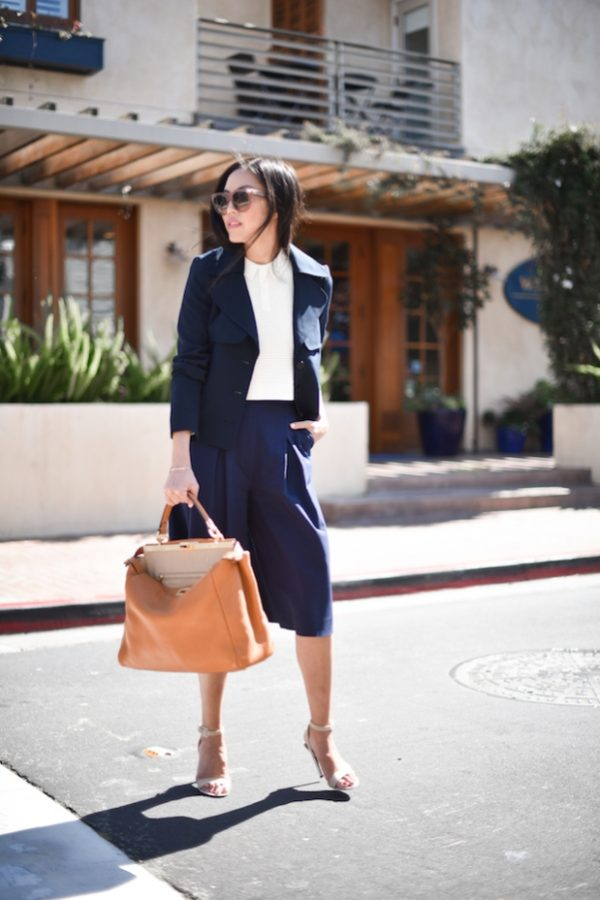 navy cullote business casual outfit