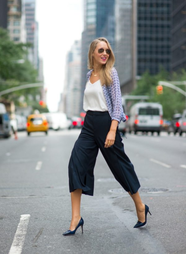 navy cullotes with cami top office attire