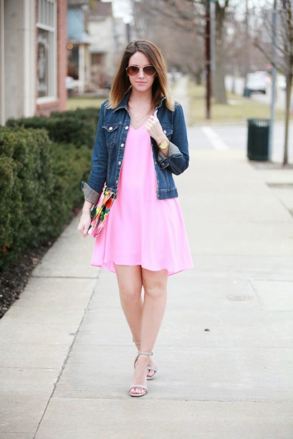 neon pink dress with denim jacket bmodish