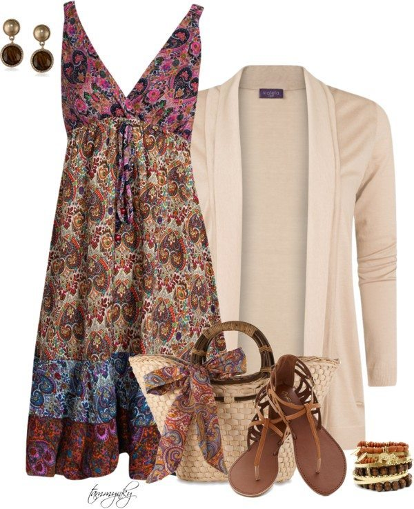 paisley sundress with cardigan polyvore outfit bmodish
