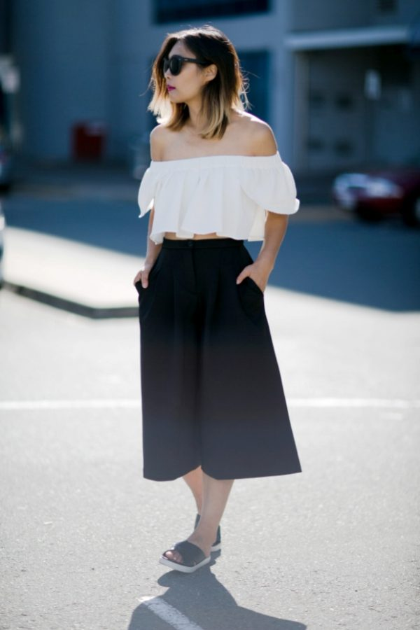 how to wear cullote with off shoulder top