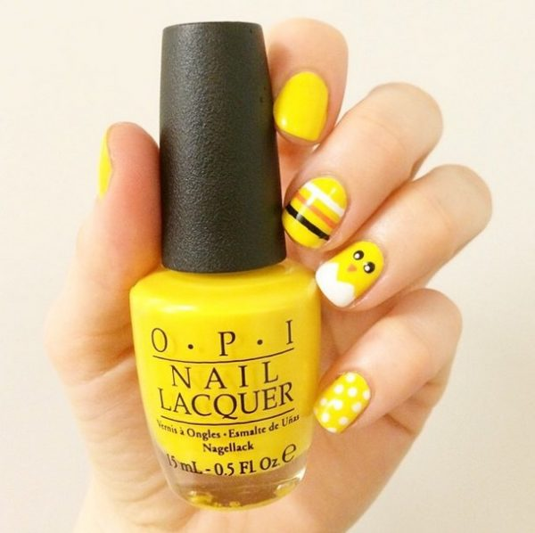 simple yellow easter nails bmodish