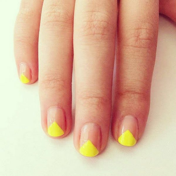 simple yellow geometric nails bmodish