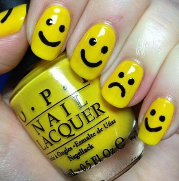 smiley easy nail art bmodish
