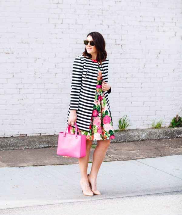stripe and floral spring outfit bmodish