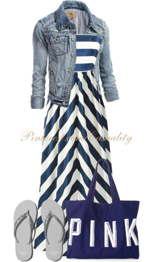 stripe maxi dress with denim jacket bmodish