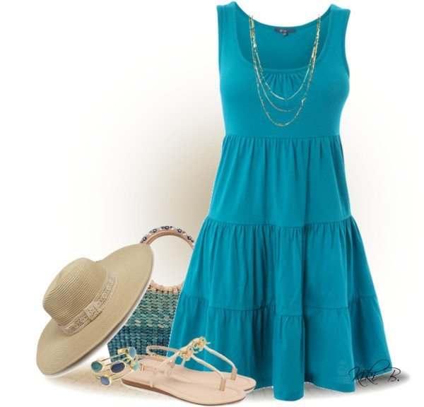summer blue dress polyvore outfit bmodish