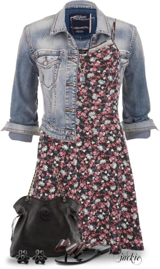 sundress and denim jacket outfit bmodish