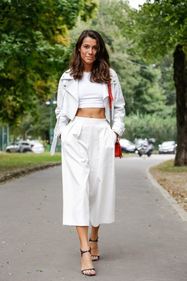 white cullote with crop top bmodish