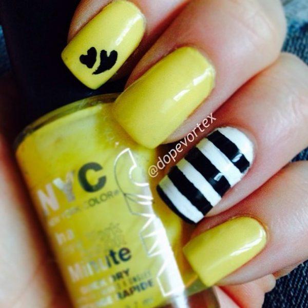yellow and stripes nail design bmodish