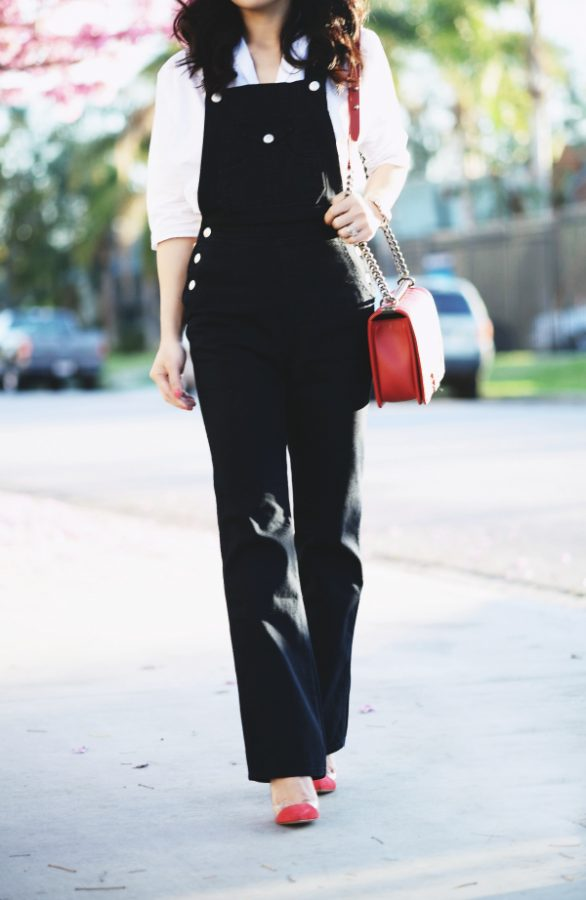 black overall with white blouse outfit