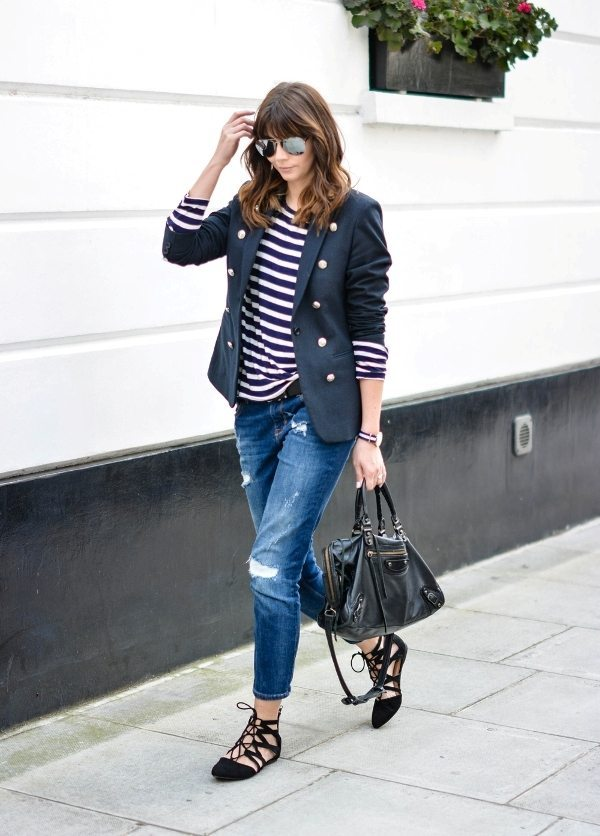 stripe top with blazer and boyfriend jeans outfit