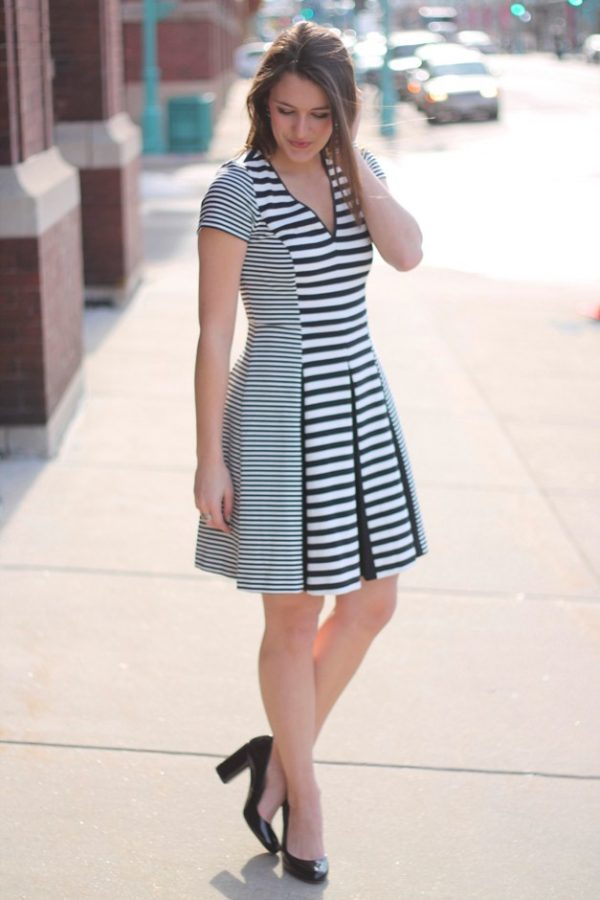 Black-White-Stripes dress bmodish