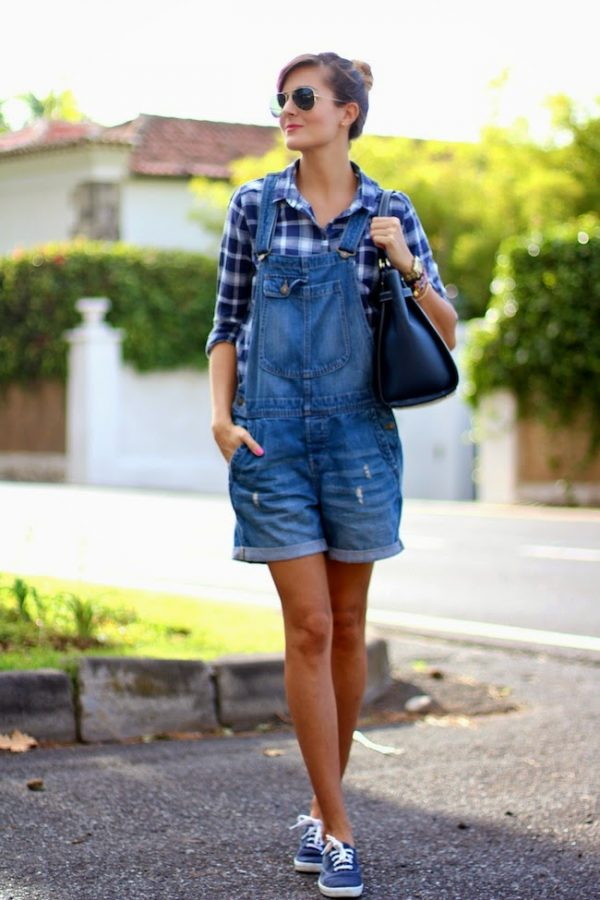 Cute short overalls with plaid shirt bmodish