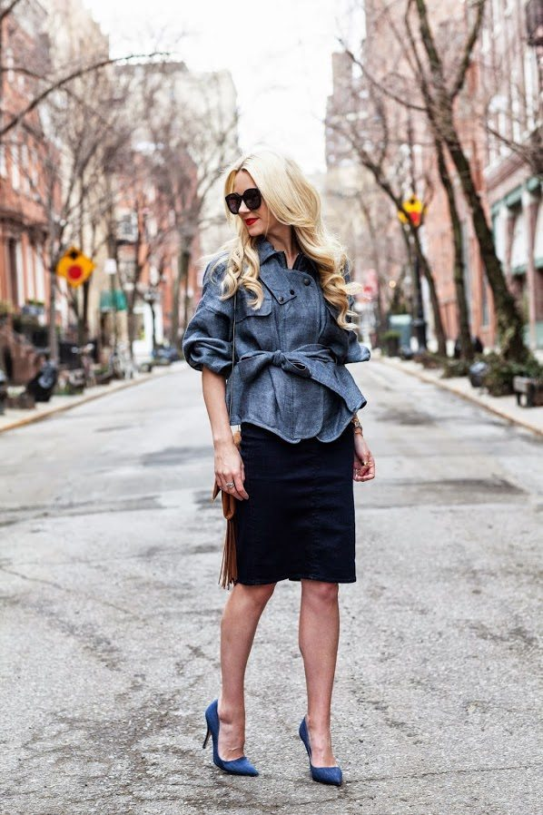 DENIM_top with pencil skirt bmodish
