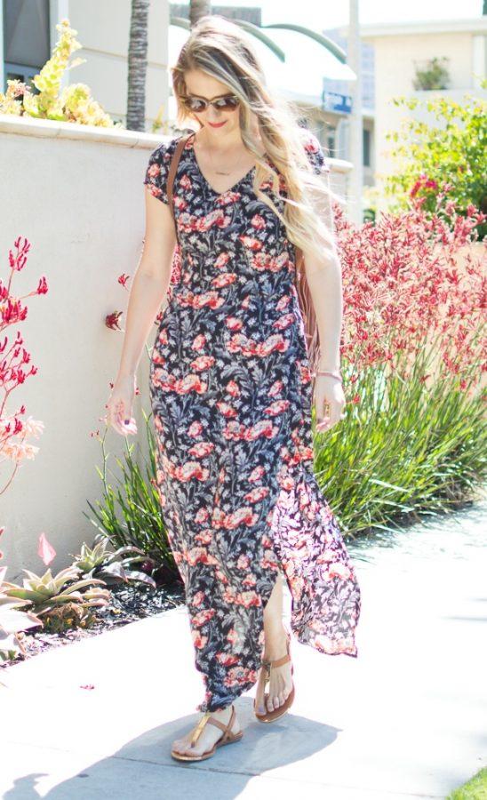 Floral-Maxi-with fringe bag bmodish