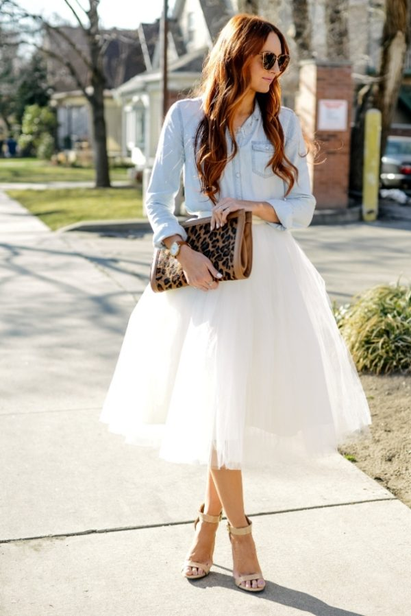 chambray shirt with tulle skirt outfit