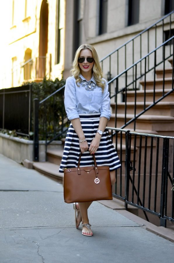 chambray shirt with striped skirt outfit